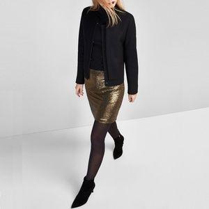 Massimo Dutti Gold Sequinned Mini Skirt